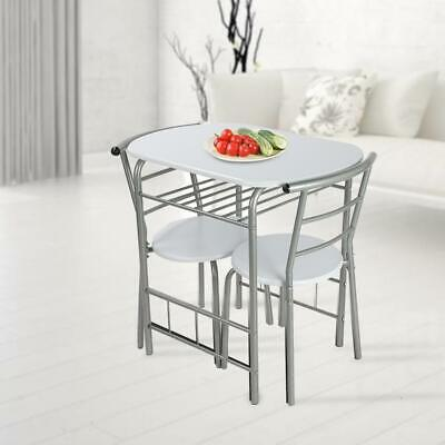 Dining Table And 2 Chairs Set  MDF Metal Legs Shelf Kitchen Desk Furniture • 69.99£