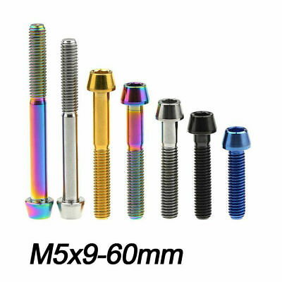 Titanium Bolts M5x 15 - 60mm Bicycles Bolts Taper Hex Head Ti Screws Grade 5 • 7.39£