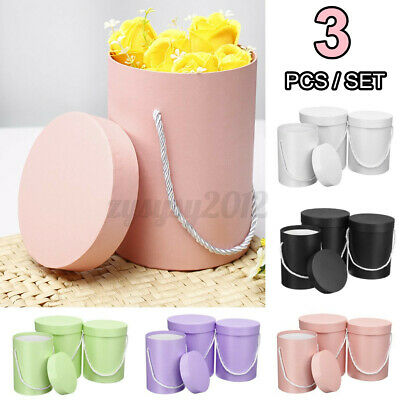 3Pcs Set Flower Hat Boxes Florist Christmas Floral Gifts Display With Handle GB • 9.28£