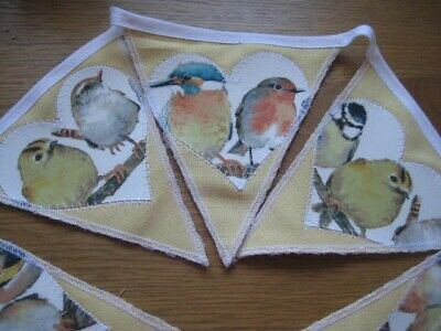 Garden Birds Laura Ashley Austen Sunshine Handmade Heart Shaped Bunting 8 Flags • 19.95£