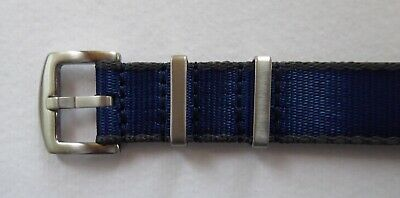Heavy Duty Nato Watch Straps 18mm - 22mm For Omega/tudor - Blue / Grey Edging • 9.99£
