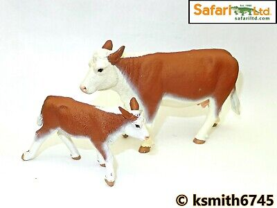 £11.25 • Buy Safari HEREFORD COW & CALF Solid Plastic Toy Farm Pet Dairy Animal Cattle * NEW