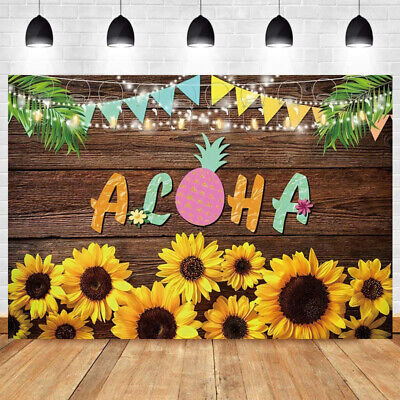 Aloha Wooden Photo Backdrop Flower Party Tropical Luau  Background Banner Prop • 8.99£