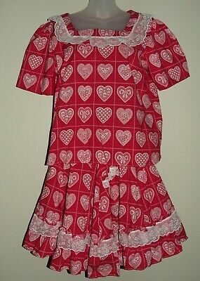 $35 • Buy Vtg Red Calico Heart Square Dance Circle Skirt & Shirt Set Outfit