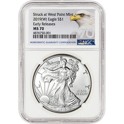 $41 • Buy 2019-(W) American Silver Eagle - NGC MS70 - Early Releases - Grade 70