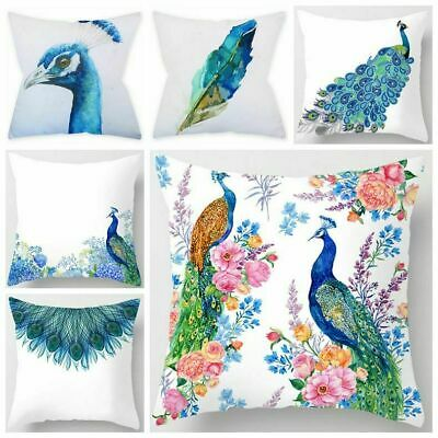 Peacock Blue White Throw PILLOW COVER Decorative Feather Bed Cushion Case 18x18  • 5.97£