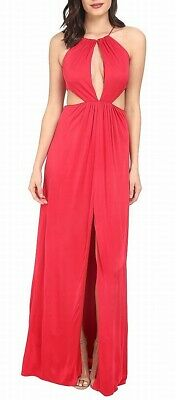 $8.99 • Buy Aidan Mattox Womens Gown Ruby Red Size 12 Halter Cutout Front-Slit $295 145