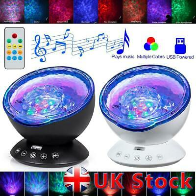 Ocean Wave LED Night Light Ceiling Projector Lamp With Music Speaker Kid Bedroom • 9.99£