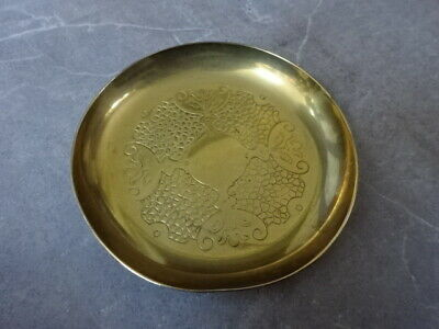 Vintage Antique  Solid Brass Dish Intricate Patten Plate Bowl • 4.75£