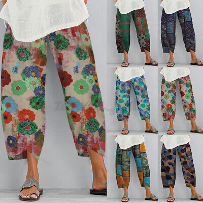 AU11.95 • Buy ZANZEA 8-24 Women Elastic Waist Plus Size Pants Pull-on Printed Floral Trousers