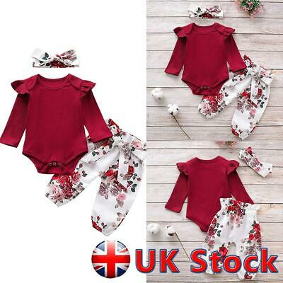 3Pcs Toddler Baby Girls Clothes Ruffle Romper Tops Floral Pants Headband Outfits • 9.42£