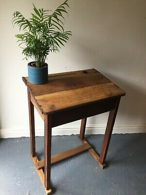 Beautiful Vintage Oak British School Desk In Great Condition. FREE UK COURIER • 125£