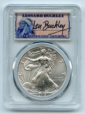 $35 • Buy 2019 $1 American Silver Eagle 1oz PCGS MS70 FDOI Leonard Buckley