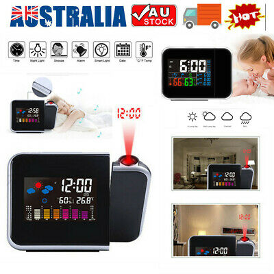 AU18.65 • Buy Digital LED Alarm Clock Time Projection Temperature Projector LCD Display Modern