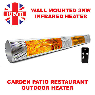 3KW Outdoor Electric Patio Heater Garden Wall Mounted Infrared Waterproof Remote • 27£