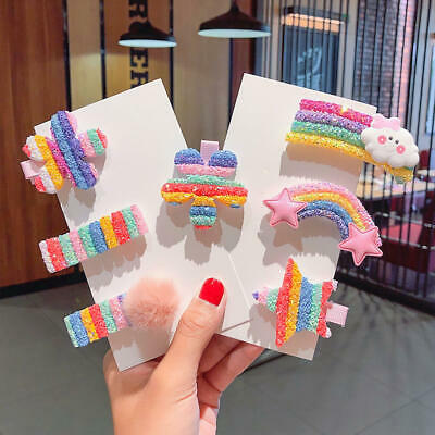 $ CDN4.53 • Buy 3/5Pcs Cartoon Rainbow Hair Clips Girls Child Headress Children Hair Accessories