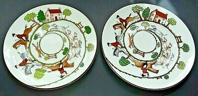 Crown Staffordshire  Hunting Scene Pair Of Side Plates  Wedgwood Coalport • 22£