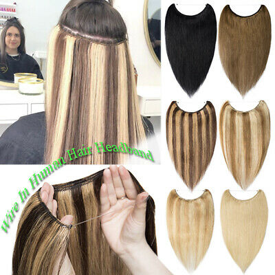 Russian Thick Wire In Human Hair Extensions Hidden Headband Remy One Piece OMbre • 24.19£
