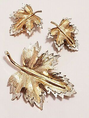 $8.99 • Buy Sarah Coventry 1970  Natures Choice  Duo-Tone Leaf Brooch And Clip-On Earrings