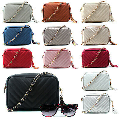 $ CDN29.72 • Buy Womens Quilted Small Cross Body Bag Gold Chain Leather Small Shoulder Handbags