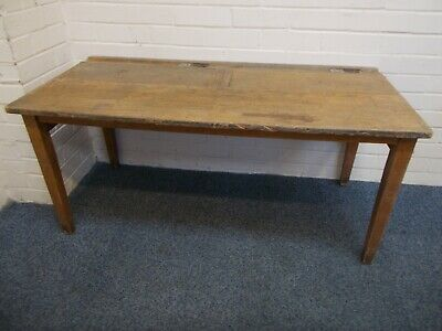 Vintage Twin School Desk With Ink Wells • 20£