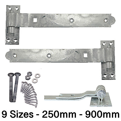 £9.85 • Buy Gate Garage Hinges HEAVY Hook Band Cranked Stable Strap Shed Barn Door +Fixings
