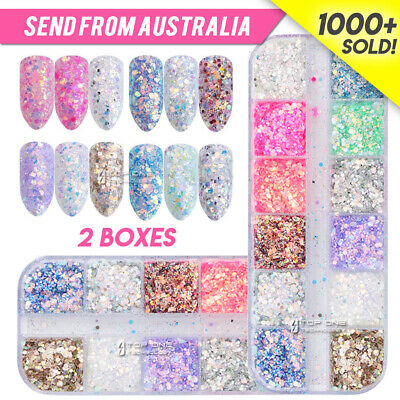 AU6.78 • Buy 12 Color Holographic Nail Sequins Glitter Flakes Sparkle Confetti Art Decal 4032