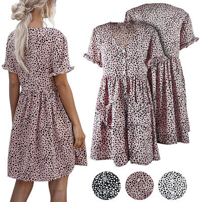 Summer Polka Dot Print Casual Loose Short Dresses With Pockets For Ladies Girls • 9.80£