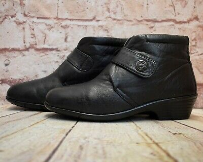 Womens Pavers Black Leather Touch Fastening Ankle Boots Size UK 3 EUR 36 • 15.29£