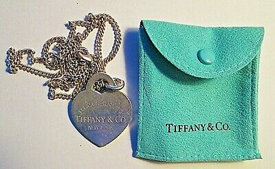 $49.99 • Buy Tiffany & Co 925 Sterling Silver Heart Tag Toggle Charming Necklace  Dr #4 Bg #1