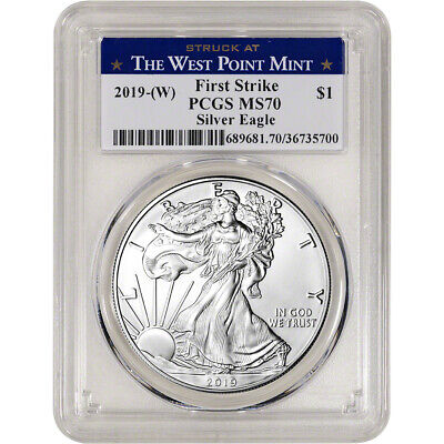 $8.50 • Buy 2019-(W) American Silver Eagle - PCGS MS70 - First Strike West Point Label