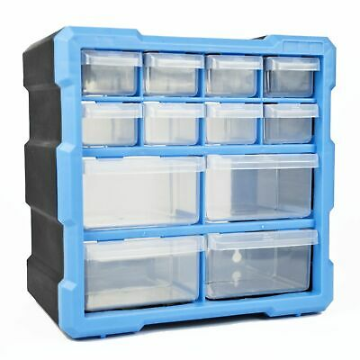 £16.46 • Buy 12 Draw Tool Storage Unit Small Parts Workshop Cabinet Garage Drawers Tidy Tools
