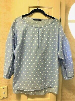 $14.99 • Buy Ladies Zara Baby Blue Blouse W/ White Embroidered Polka Dots & Puffy Sleeves Xl