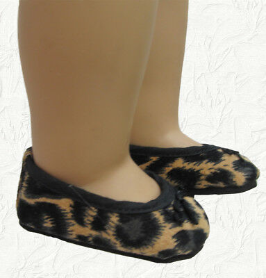Doll Clothes Ballet Shoe Leopard Print Faux Suede With Bow Fits American Girl • 2.59£