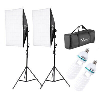 1/2x135W Photo Studio Softbox Kit Continuous Lighting Video Light Soft Box Stand • 39.99£