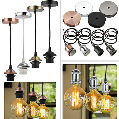 Vintage E27 Ceiling Pendant Cord Flex Hanging Lamp Holder Light Bulb Fitting Set • 9.49£