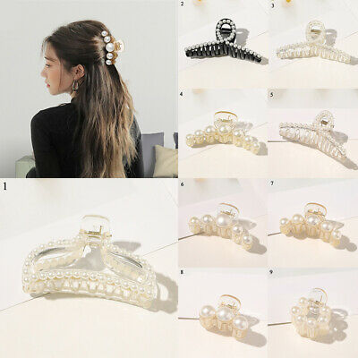 $0.99 • Buy Women Pearls Hair Clip Ornaments Barrettes Hair Accessories Hair Claw Hairpins