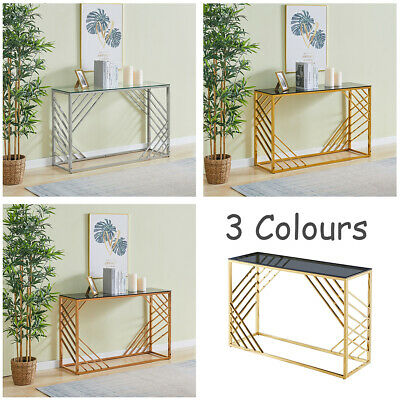 Coffee Table Console Table Stainless Steel Side Table Tempered Glass Top Kitchen • 139.99£