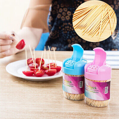 £2.54 • Buy 350pcs Disposable Stick With Wooden Toothpicks Wood Round Case Two Heads Bamboo