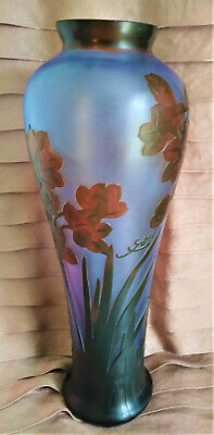 £177.46 • Buy Galle Signed Vase Art Nouveau Inspired Blue Glass Acid Etched Embossed Cameo 14
