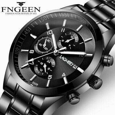 Army Military Mens Stainless Steel Wrist Watch Quartz Date Analog Sports Watches • 6.99£