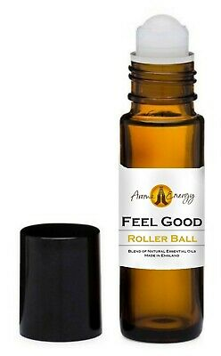 FEEL GOOD Essential Oil Blend Roller Ball Pulse Point Roll On Aromatherapy • 8.99£