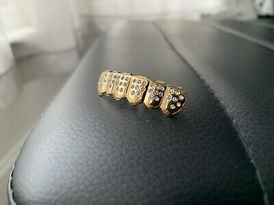 Gold Plated Teeth Grills Iced Out Tooth Grill BOTTOM Hip Hop Bling Rapper Shiny • 3.89£