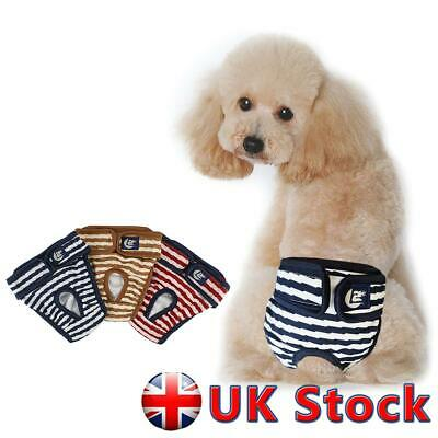 Female Pet Physiological Stripe Panties Dog Diaper Pant Sanitary Nappy Shorts UK • 3.59£