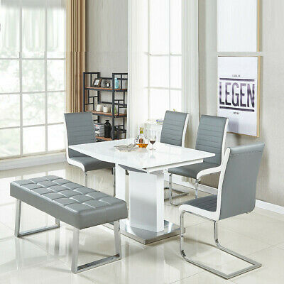 Long Seat Bench Dining Chairs Soft Faux Leather Padded Chrome Legs Lounge Stools • 89.99£