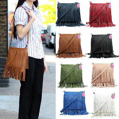 Women's Faux Leather Tassel Fringe Shoulder Bag Crossbody Bags For Women Gift • 12.82£