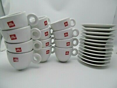 ILLY CAPPUCCINO CUPS  LOGO (12  CUPS) & (12  SAUCERS) Porcelain 6 Oz Capacity • 85.12£