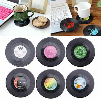 Retro Vinyl Record Rubber CD Coaster Table Coffee Drink Cup Mat Placemat 6 PCS • 6.49£