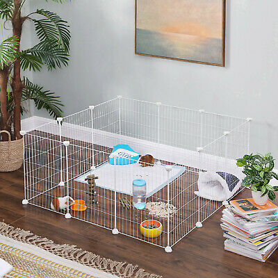 Pet Guinea Pigs Cages 12 Panels Metal C C Runs Indoor Playpen Rabbit DIY LPI01W • 27.99£