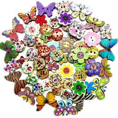 £3.49 • Buy 50x Mix Design Flowers, Butterflies, Animals Etc.Wood Buttons For Craft & Sewing